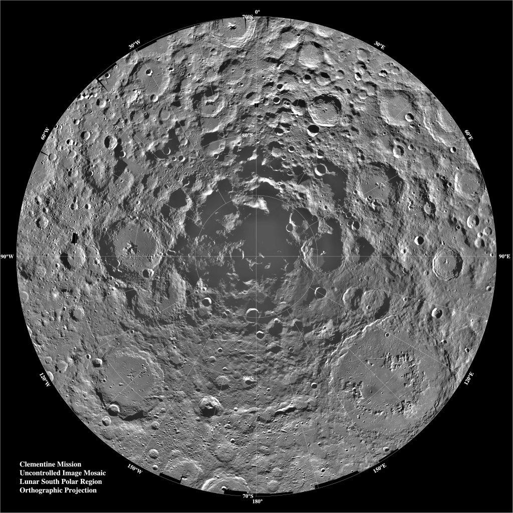 Clementine Mission Lunar South Pole Region - Blog Header